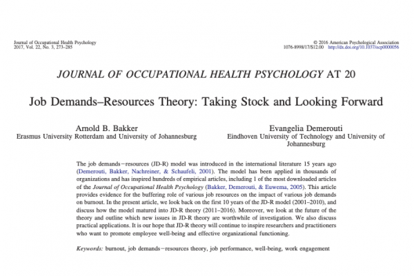 Job Demands–Resources Theory: Taking Stock and Looking Forward