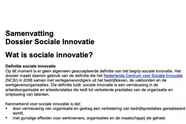 Dossier sociale innovatie